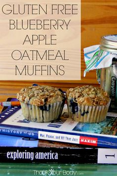 These gluten free blueberry apple oatmeal muffins have a moist, tender crumb. They're wonderfully hearty, make extra and keep them for breakfast on the run!