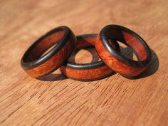 Reserved for Mike Two Amboyna Burl Wood Ring Bands by gammamike