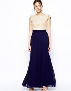 Image 4 ofLittle Mistress Maxi Dress with Lace Bardot Top
