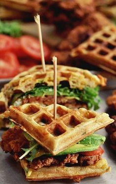 Fried Chicken and Waffle Sandwiches| pinterestparties.com