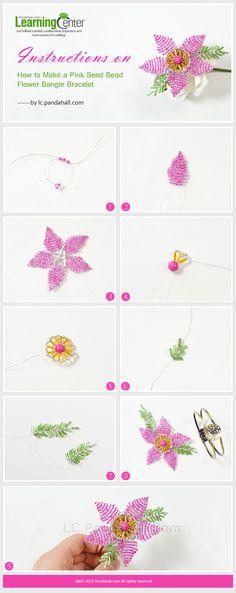 a Pink Seed Bead Flower Bangle Bracelet