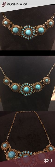 NWT Turquoise & Bronze Statement Necklace NWT Turquoise & Bronze Statement Necklace.  Adds that special pop of color. Lobster closure. Beautiful Statement piece.... Jewelry Necklaces
