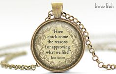 Jane Austen Quote Necklace How Quick Come the by FrenchHoney, $16.00