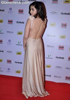 Alia Bhatt 2013 in backless gown FilmFare Awards Nominations