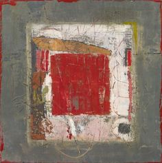 'Red Square with Pink' (2007) by American artist Marilyn Jonassen. Encaustic & mixed media on clay board, 24 x 24 x 2 in. via Fetherston Gallery