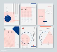 Set of minimal Memphis design start-up poster vector Geometric Graphic Design, Minimal Graphic Design, Graphic Design Branding, Graphic Design Posters, Graphic Design Inspiration, Flugblatt Design, Buch Design, Flyer Design, Portfolio Design