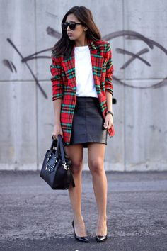 tartan + white + black leather casual outfit