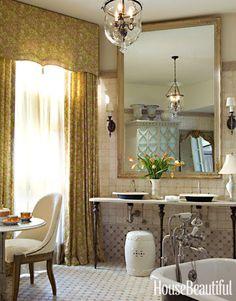 A spot for tea if your bathroom is big enough! Design: Barry Dixon. housebeautiful.com