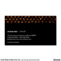 Gold Flake Polka Dots (black) Business Card #businesscard #hairstylist #stylist #hairandbeauty #businessowner #makeupartist