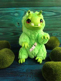 FANTASY PLUSH CREATURE Baby Green Dragon Ooak Fantasy Creature