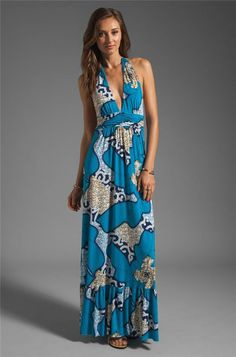 T-bags Los Angeles Printed Halter Maxi Dress Blue Leaf Small Nwot long dresses