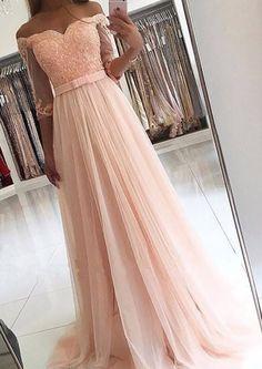 3/4 Sleeves Off-the-Shoulder Tulle Sash/Ribbon/Belt Sweep/Brush Train#prom #promdress #dress #eveningdress #evening #fashion #love #shopping #art #dress #women #mermaid #SEXY #SexyGirl #PromDresses