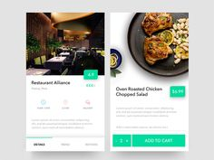 Restaurant App designed by Artur. Connect with them on Dribbble; Mobile Ui Design, Ui Ux Design, Restaurant App, Oven Roasted Chicken, Chopped Salad, App Ui, Mobile App, Invitation, Oven Barbecue Chicken