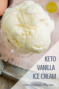 This recipe for Keto Vanilla Ice Cream makes a low-carb version of the the classic dessert. Keto, Atkins, gluten-free, sugar free and Banting diet friendly. Keto Friendly Desserts, Low Carb Desserts, Dessert Recipes, Diabetic Desserts, Frozen Desserts, Cookie Desserts, Frozen Treats, Dessert Ideas, Cookie Recipes