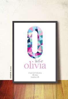 Personalized Baby Nursery Geometric Poster Wall by TANGRAMartworks