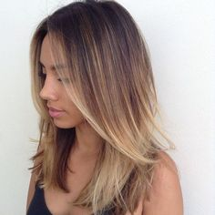 This is what I want, ombre highlights, but with a rosy-pink color mixed in as well