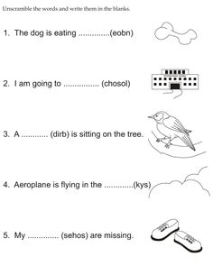 Unscramble the words and write them in the blanks English Grammar For Kids, English Phonics, Teaching English Grammar, English Worksheets For Kids, Grammar Lessons, 2nd Grade Math Worksheets, Reading Worksheets, Jumble Word Puzzle, Phonetics For Kids