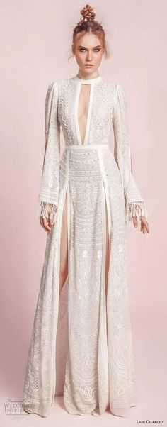 lior charchy spring 2017 bridal long bell sleeves keyhole neck full embellishment double side slit elegant sexy a line wedding dress sweep train mv -- Lior Charchy Spring 2017 Wedding Dresses (Diy Clothes Spring 2017 Wedding Dresses, Wedding Gowns, Hair Wedding, Thai Wedding Dress, Wedding Skirt, Spring Weddings, Spring Dresses, Wedding Makeup, Bridal Gowns