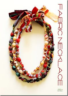 Fabric covered bead necklace - with knots. Perfect for little girls as there is no small parts.