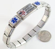 Diabetic Insulin Dependent Medical ID Alert Italian Charm Bracelet with Flag $32.99 #bestseller