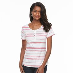 Women's Croft & Barrow® Henley Tee, Size: XL, Brt Red