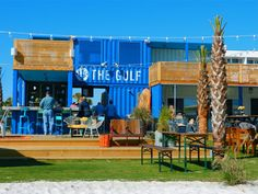 Foodie Frenzy: Orange Beach, Alabama - The Aha! Connection---made of shipping containers--- Container Shop, Container House Design, Container Houses, Shipping Container Restaurant, Shipping Containers, Flora Bama, Box Park, Orange Beach Alabama, Outdoor Stage