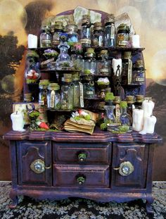 Botanical ooak Cupboard dollhouse miniature in 1/12 scale -- would love a non-Halloween version