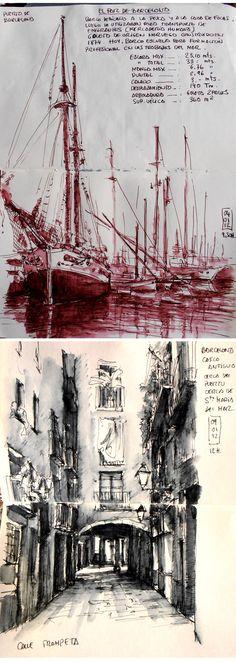 el puerto de Barcelona / la calle Trompeta http://ladronesdecuadernos.blogspot.com.es/2012/02/mis-dibujos-semana-6.html