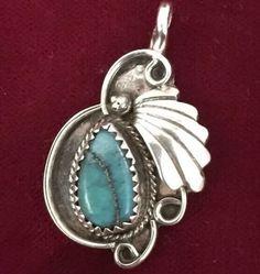 Vintage NAVAJO  Sterling Silver Pendant Turquoise JUSTIN MORRIS SIgned