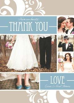 Light Blue Wedding Collage - Custom Photo Couples Thank You Cards, Announcements. $12.99, via Etsy.