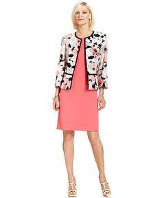 Kasper Floral-Print Jacket & Cap-Sleeve Sheath Dress - Womens Suits & Suit Separates - Macy's