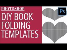 Video tutorial to make your own Book Fold Templates in Photoshop - Turn any image or text into a folding pattern. Old Book Crafts, Book Page Crafts, Folded Book Art, Paper Book, Paper Art, Book Folding Patterns Free Templates, Photoshop, Iris Folding, Paper Folding