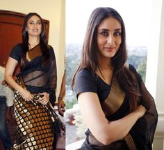 Actress Kareena Kapoor wears a Black Chanderi Cotton Saree. Black will always…