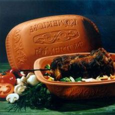 Romertopf (clay pot)…awesome way to cook meat and vegetables…they have a fish baker, too...