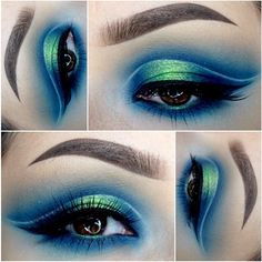 """#ShareIG We are mesmerized by these vibrant colors used in this dreamy mermaid-esque look. @_claudiayvette was inspired by a makeup look ✨@hannamajava✨ created recently Lashes #houseoflashes """"Pixie Luxe"""" Brows: @anastasiabeverlyhills Dipbrow in """"chocolate"""" and duo in """"dark brown"""" @bhcosmetics day and night palette (navy blue and tan) , """"fizz"""" from @colourpopcosmetics , inglot eyeliner in #77 Brushes: used @hairandmakeupaddiction"""