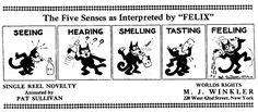 """Felix Cartoon Strip, """"Five Senses"""", 1923"""