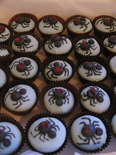 Australia- Red back spiders. Halloween cupcake decorations