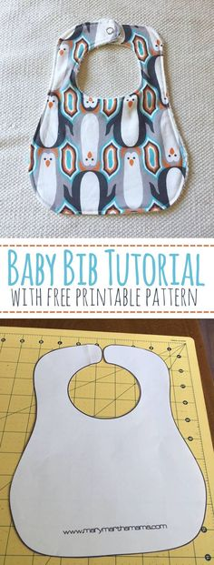 Baby Bib Pattern & Tutorial Baby Bib Tutorial with Free Printable Pattern – Mary Martha Mama- How to make a baby bib (Baby Diy Ideas) Quilt Baby, Baby Sewing Projects, Sewing Projects For Beginners, Sewing Crafts, Baby Sewing Tutorials, Book Projects, Fun Projects, Fabric Crafts, Mary E Martha