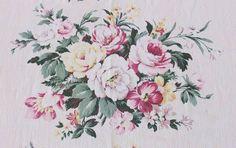 "Beach Cottage Perfect! Pair Of Drapes Romantic Cottage Roses Barkcloth Era 82"" x 33 1/2""each Vintageblessings"