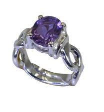 Amethyst 925 Sterling splendid supply Ring Purple L-1in UK KMOQ