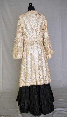 EDWARDIAN BATTENBURG LACE COAT. 3/4 length, full skirt, bell sleeves, cream silk charmeuse lining. Back