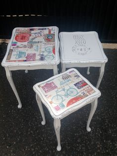Grandmas tables have got a face lift!! Cool as ice with a vintage look paper pasted on two of three tables. The third table has a transfer in black.