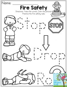 Stop, Drop and Roll Fire Safety for the month of October, fire prevention month! Community Helpers Preschool, Preschool Lessons, Preschool Worksheets, Preschool Activities, Letter Worksheets, Preschool Projects, Free Worksheets, Preschool Printables, Preschool Learning