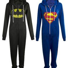 LADIES SUPERMAN/ BATMAN SUPERHERO ONESIE JUMPSUIT