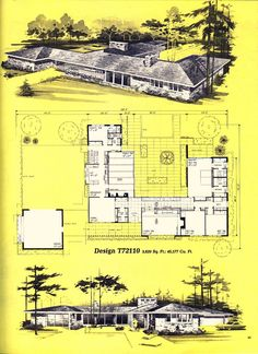 Home Planners Design Dream House Plans, Modern House Plans, House Floor Plans, Architecture Plan, Residential Architecture, Vintage Architecture, Building Plans, Building A House, Mcm House