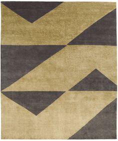 Dark gold - dark brown. Hand knotted in wool + silk. Made in Nepal. Design Kristiina Lassus.