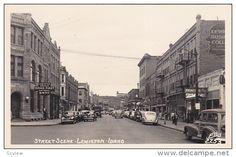 RP: Main Street at Idaho 1st National Bank , LEWISTON , Idaho , 1930-40s ; ELLIS 2253 - Delcampe.com
