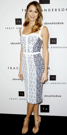 Keibler flaunted her figure at Tracy Andersons flagship opening in a curve-hugging Rebecca Minkoff sheath and skinny sandals.