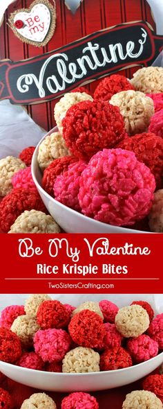 Be My Valentine Rice Krispie Bites - Yummy, bite-sized balls of crunchy, marshmallow-y delight. This is a Valentine's Day dessert that is easy to make and even yummier to eat. These colorful and festive Valentines Day Treats are sure to please your loved ones. Pin this fun snack for later and follow us for more fun Valentine's Day Food Ideas.