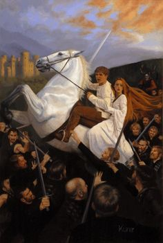 'Suddenly he was in the midst of the warriors.'   This painting is based on 'The Book of Three' by Lloyd Alexander (New York, Dell 1964), the first of the Chronicles of Prydain. This is a climactic scene when Taran and Eilonwy ride Melyngar (Prince Gwydion's horse) through a column of the Horned King's army. It is their last chance to reach Caer Dathyl and warn the Sons of Don of the coming onslaught.